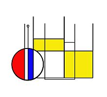 Modern Lines and Colors - Red Blue Yellow Black White Geometric Photographic Print