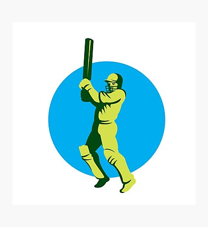 Cricket Player Batsman Batting Circle Retro Photographic Print