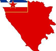 Flag Map of Socialist Republic of Bosnia & Herzegovina, 1945-1991 by abbeyz71