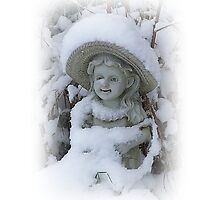 Girl Statue In The Snow by Jonice