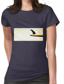 Blue Single Fin Womens Fitted T-Shirt