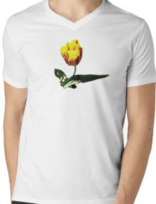 Yellow and Red Tulip Mens V-Neck T-Shirt