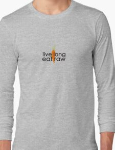 live long eat raw (black font, large logo) Long Sleeve T-Shirt