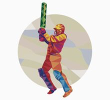 Cricket Player Batsman Batting Low Polygon T-Shirt