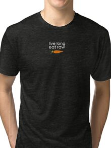 live long, eat raw (white font crooked carrot) Tri-blend T-Shirt