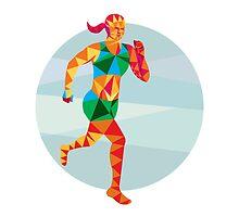 Female Triathlete Marathon Runner Low Polygon by patrimonio
