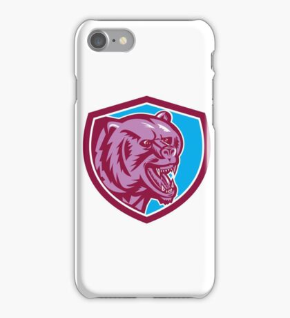 Grizzly Bear Angry Head Shield Retro iPhone Case/Skin