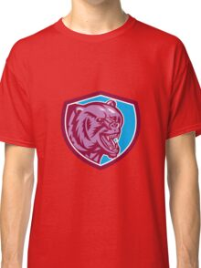 Grizzly Bear Angry Head Shield Retro Classic T-Shirt