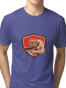Grizzly Bear Angry Shield Retro Tri-blend T-Shirt