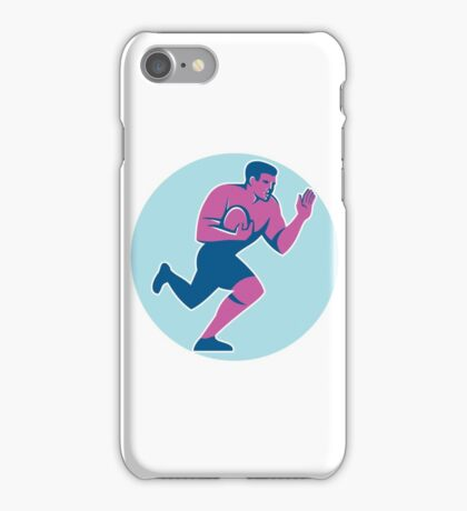 Rugby Player Fend Off Circle Retro iPhone Case/Skin