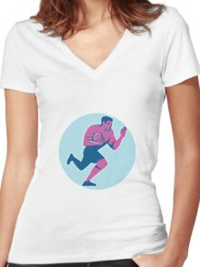 Rugby Player Fend Off Circle Retro Women's Fitted V-Neck T-Shirt