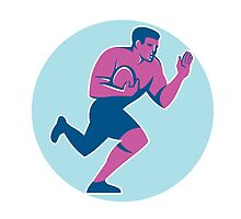 Rugby Player Fend Off Circle Retro by patrimonio