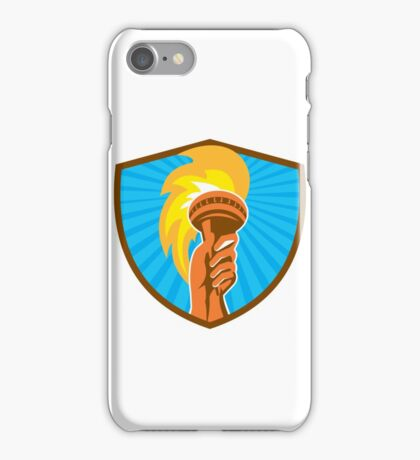 Hand Holding Burning Flaming Torch Shield Retro iPhone Case/Skin