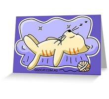 Orange Cat Sleeping On Couch Greeting Card