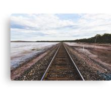 Train tracks beside the salt lake Canvas Print