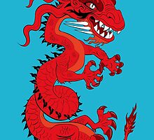 Red Dragon on Blue by Dave Stephens