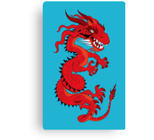 Red Dragon on Blue Canvas Print