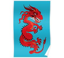 Red Dragon on Blue Poster