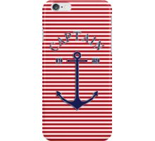 Captain anchor on thin red navy stripes marine style  iPhone Case/Skin