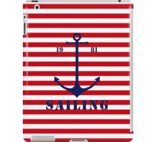 Captain anchor on thin red navy stripes marine style  iPad Case/Skin