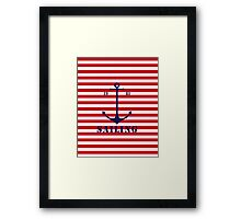 Captain anchor on thin red navy stripes marine style  Framed Print