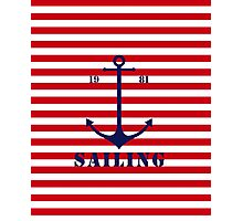 Captain anchor on thin red navy stripes marine style  Photographic Print