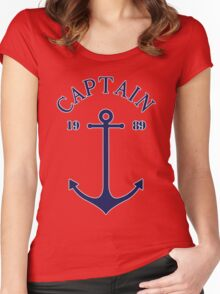 Captain anchor on thin red navy stripes marine style  Women's Fitted Scoop T-Shirt