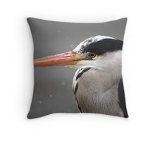 Heron in the Snow Throw Pillow