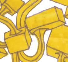 Yellow 3D Blocks by Seth Cummins Sticker