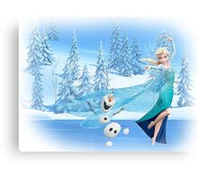 Olaf and Elsa Canvas Print