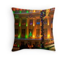 big building all lit up Throw Pillow