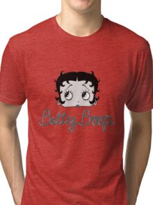 Betty Boop Cartoon Head Black and White Tri-blend T-Shirt