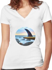 Single Fin colour Women's Fitted V-Neck T-Shirt