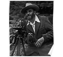 Photographic portrait of nature photographer Ansel Adams — which first appeared in the 1950 Yosemite Field School yearbook. Poster
