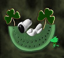 SHAMROCKS & SNOOPY DREAMING IRISH DREAMS -- WOODSTOCK TURNS GREEN -- SAINT PATRICKS DAY PILLOW AND OR TOTE BAG by ✿✿ Bonita ✿✿ ђєℓℓσ