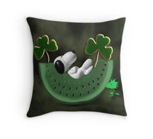SHAMROCKS & SNOOPY DREAMING IRISH DREAMS -- WOODSTOCK TURNS GREEN -- SAINT PATRICKS DAY PILLOW AND OR TOTE BAG Throw Pillow