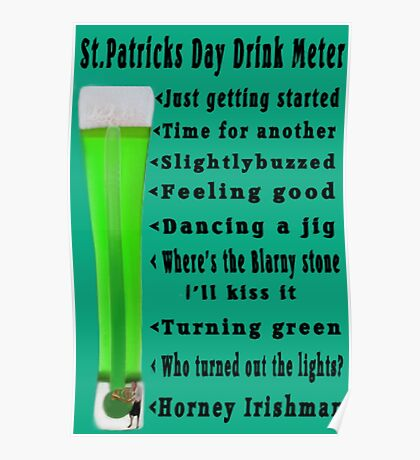 ☁ ST. PATRICKS DAY DRINK METER ☁  Poster
