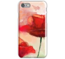 Red Poppy watercolor like painting  iPhone Case/Skin