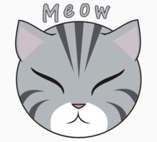 Meow Gray Cat Kids Tee
