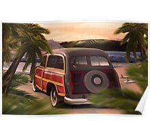 Retro vintage Surfing - coche viejo Poster