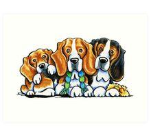 3 Beagles Art Print