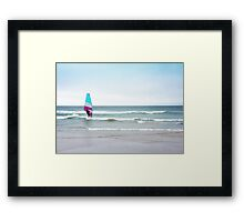Ocean Windsurfing with Magenta Pink and Aqua Blue Green Framed Print