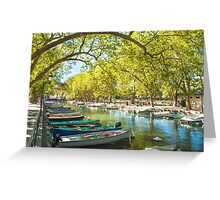 Annecy, boats and channel from lovers' bridge Greeting Card