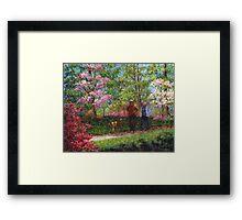In the Azalea Garden Framed Print