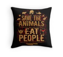 save the animals, EAT PEOPLE (3) Throw Pillow