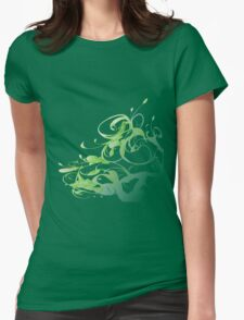 Green floral Womens Fitted T-Shirt