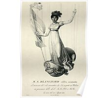 Portrait of French balloonist Sophie Blanchard standing in the decorated basket of her balloon during her flight in Milan, Italy, in 1811 Poster