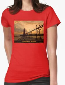 Sunrise Behind the Lighthouse Womens Fitted T-Shirt