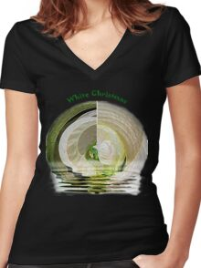 White Christmas Women's Fitted V-Neck T-Shirt