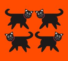 4 Black Cats in Red Collars Kids Clothes